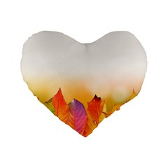 Autumn Leaves Colorful Fall Foliage Standard 16  Premium Heart Shape Cushions by BangZart