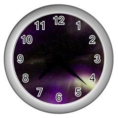 The Northern Lights Nature Wall Clocks (silver)  by BangZart