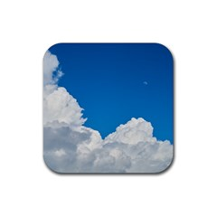 Sky Clouds Blue White Weather Air Rubber Coaster (square)