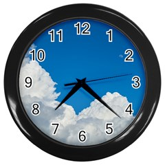 Sky Clouds Blue White Weather Air Wall Clocks (black) by BangZart