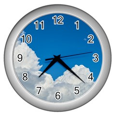 Sky Clouds Blue White Weather Air Wall Clocks (silver)