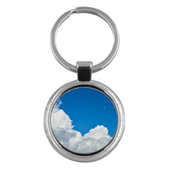Sky Clouds Blue White Weather Air Key Chains (round)  by BangZart