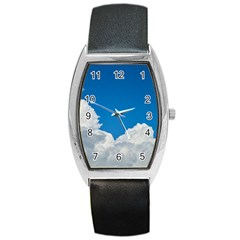 Sky Clouds Blue White Weather Air Barrel Style Metal Watch by BangZart