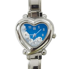 Sky Clouds Blue White Weather Air Heart Italian Charm Watch by BangZart
