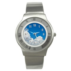 Sky Clouds Blue White Weather Air Stainless Steel Watch by BangZart