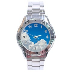Sky Clouds Blue White Weather Air Stainless Steel Analogue Watch by BangZart