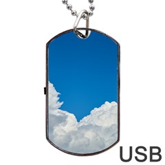 Sky Clouds Blue White Weather Air Dog Tag Usb Flash (one Side) by BangZart