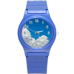 Sky Clouds Blue White Weather Air Round Plastic Sport Watch (s) by BangZart