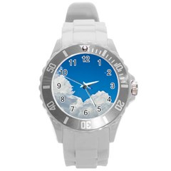 Sky Clouds Blue White Weather Air Round Plastic Sport Watch (l)