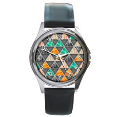 Abstract Geometric Triangle Shape Round Metal Watch