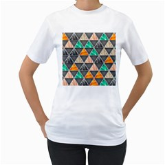 Abstract Geometric Triangle Shape Women s T Shirt (white) (two Sided)