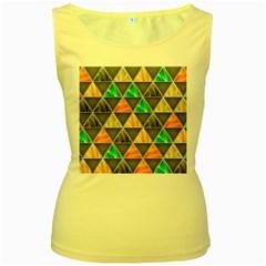Abstract Geometric Triangle Shape Women s Yellow Tank Top