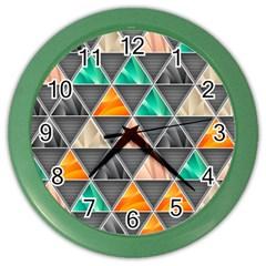 Abstract Geometric Triangle Shape Color Wall Clocks by BangZart