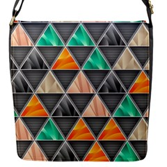 Abstract Geometric Triangle Shape Flap Messenger Bag (s)