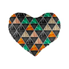 Abstract Geometric Triangle Shape Standard 16  Premium Flano Heart Shape Cushions by BangZart