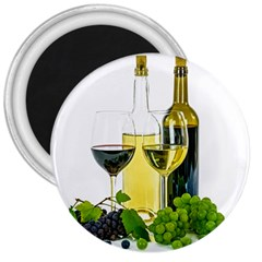 White Wine Red Wine The Bottle 3  Magnets by BangZart