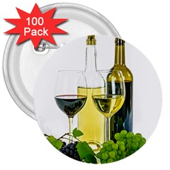 White Wine Red Wine The Bottle 3  Buttons (100 Pack)