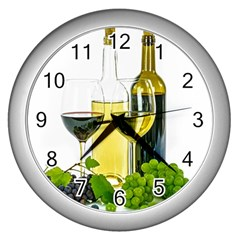 White Wine Red Wine The Bottle Wall Clocks (silver)  by BangZart