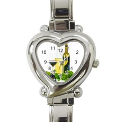 White Wine Red Wine The Bottle Heart Italian Charm Watch by BangZart