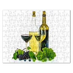 White Wine Red Wine The Bottle Rectangular Jigsaw Puzzl