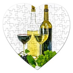 White Wine Red Wine The Bottle Jigsaw Puzzle (heart) by BangZart