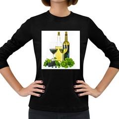 White Wine Red Wine The Bottle Women s Long Sleeve Dark T Shirts