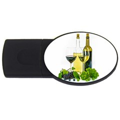White Wine Red Wine The Bottle Usb Flash Drive Oval (4 Gb) by BangZart