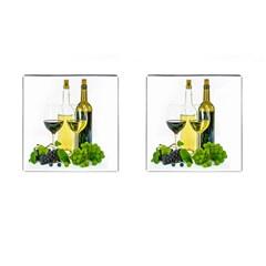 White Wine Red Wine The Bottle Cufflinks (square)