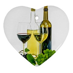 White Wine Red Wine The Bottle Heart Ornament (two Sides) by BangZart