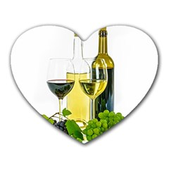 White Wine Red Wine The Bottle Heart Mousepads by BangZart