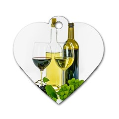White Wine Red Wine The Bottle Dog Tag Heart (two Sides)