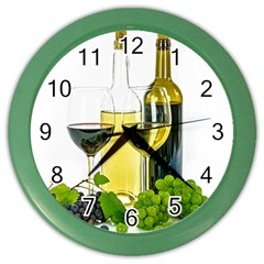 White Wine Red Wine The Bottle Color Wall Clocks by BangZart