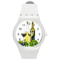 White Wine Red Wine The Bottle Round Plastic Sport Watch (m) by BangZart