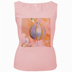Sphere Tree White Gold Silver Women s Pink Tank Top