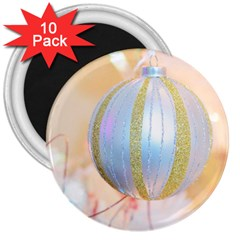 Sphere Tree White Gold Silver 3  Magnets (10 Pack)