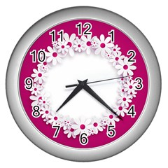 Photo Frame Transparent Background Wall Clocks (silver)  by BangZart