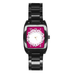 Photo Frame Transparent Background Stainless Steel Barrel Watch