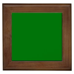 Solid Christmas Green Velvet Classic Colors Framed Tiles by PodArtist