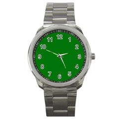 Solid Christmas Green Velvet Classic Colors Sport Metal Watch by PodArtist