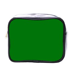 Solid Christmas Green Velvet Classic Colors Mini Toiletries Bags by PodArtist