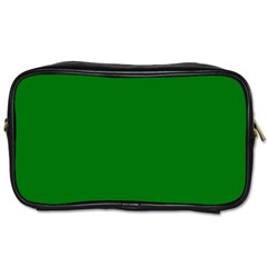 Solid Christmas Green Velvet Classic Colors Toiletries Bags 2 Side by PodArtist