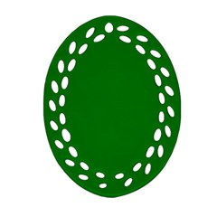 Solid Christmas Green Velvet Classic Colors Ornament (oval Filigree) by PodArtist