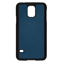 Solid Christmas Silent Night Blue Samsung Galaxy S5 Case (black)