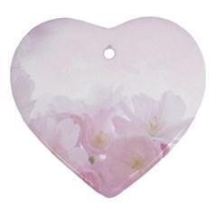 Pink Blossom Bloom Spring Romantic Ornament (heart)