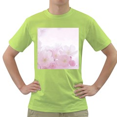 Pink Blossom Bloom Spring Romantic Green T Shirt