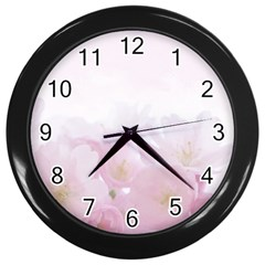 Pink Blossom Bloom Spring Romantic Wall Clocks (black)