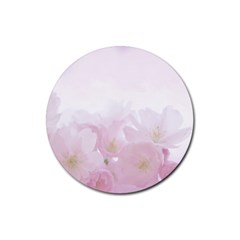 Pink Blossom Bloom Spring Romantic Rubber Coaster (round)  by BangZart