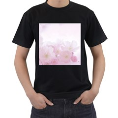 Pink Blossom Bloom Spring Romantic Men s T Shirt (black) (two Sided) by BangZart
