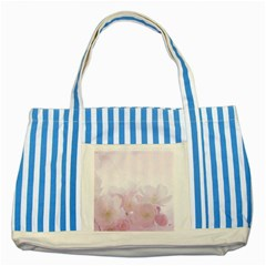 Pink Blossom Bloom Spring Romantic Striped Blue Tote Bag by BangZart