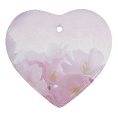 Pink Blossom Bloom Spring Romantic Heart Ornament (two Sides)